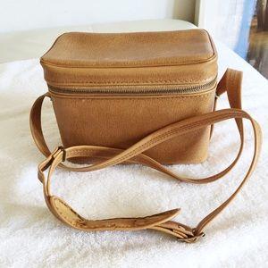 Vintage box purse / camera bag in brown vinyl